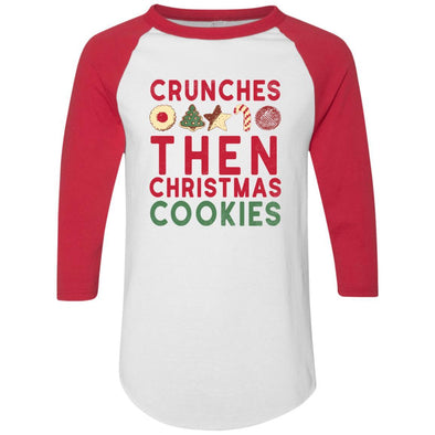 Crunches-then-christmas-cookies Apparel CustomCat Raglan Jersey White/Red S