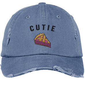 Cutie Pie Cap Apparel CustomCat DT600 District Distressed Dad Cap Scotland Blue One Size