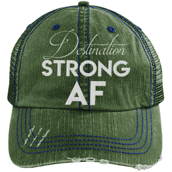 Destination Strong AF Hats CustomCat Dark Green/Navy One Size