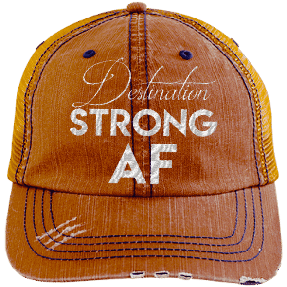 Destination Strong AF Hats CustomCat Orange/Navy One Size
