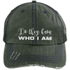 Do They Know Who I Am Distressed Trucker Cap Apparel CustomCat 6990 Distressed Unstructured Trucker Cap Dark Green/Navy One Size