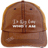 Do They Know Who I Am Distressed Trucker Cap Apparel CustomCat 6990 Distressed Unstructured Trucker Cap Orange/Navy One Size