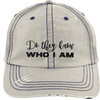 Do They Know Who I Am Distressed Trucker Cap Apparel CustomCat 6990 Distressed Unstructured Trucker Cap Putty/Navy One Size