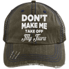 Don't Make Me Take Off My Tiara Trucker Cap Apparel CustomCat 6990 Distressed Unstructured Trucker Cap Brown/Navy One Size