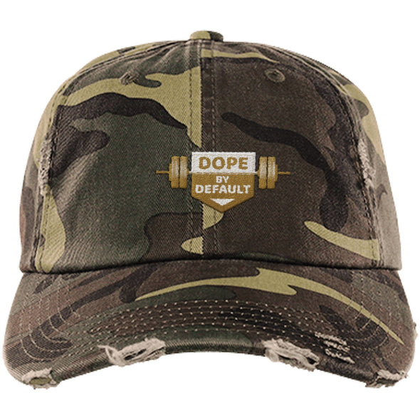 Dope by Default Cap Apparel CustomCat Distressed Dad Cap Military Camo One Size