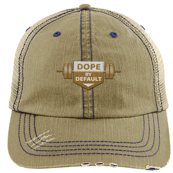 Dope by Default Cap Apparel CustomCat Trucker Cap Khaki/Navy One Size