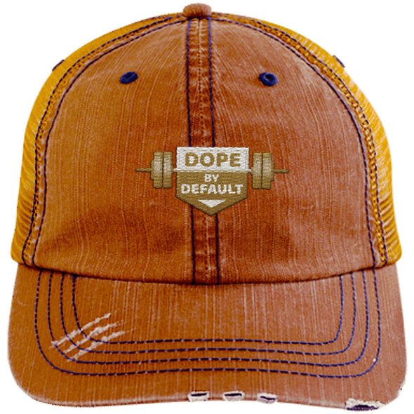 Dope by Default Cap Apparel CustomCat Trucker Cap Orange/Navy One Size