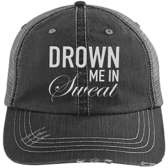 Drown Me in Sweat Hat Apparel CustomCat 6990 Distressed Unstructured Trucker Cap Black/Grey One Size