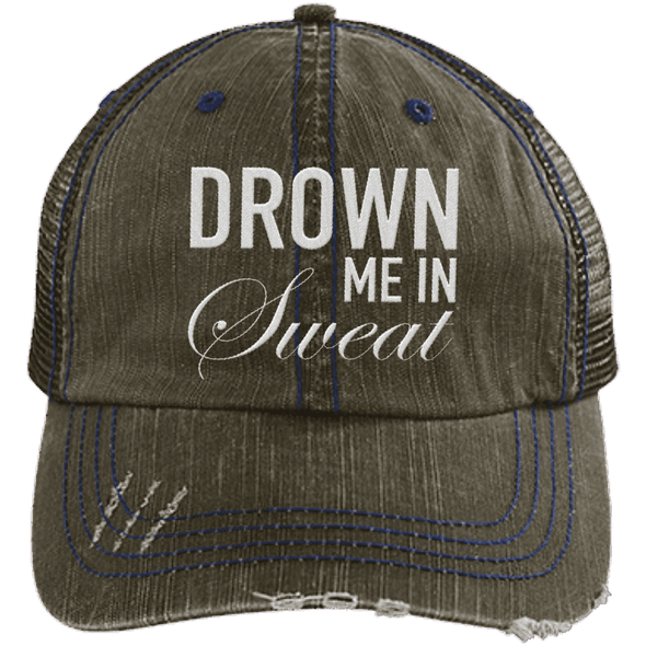Drown Me in Sweat Hat Apparel CustomCat 6990 Distressed Unstructured Trucker Cap Brown/Navy One Size