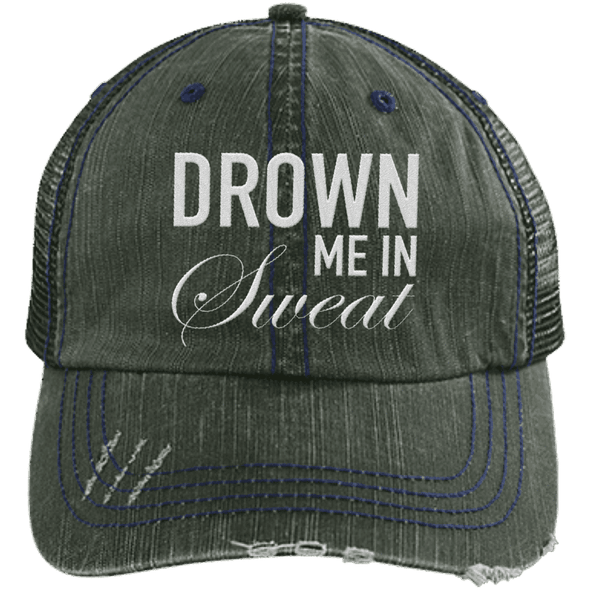 Drown Me in Sweat Hat Apparel CustomCat 6990 Distressed Unstructured Trucker Cap Dark Green/Navy One Size