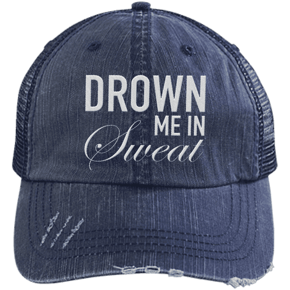 Drown Me in Sweat Hat Apparel CustomCat 6990 Distressed Unstructured Trucker Cap Navy/Navy One Size