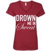 Drown Me in Sweat Tees Apparel CustomCat 88VL Anvil Ladies' V-Neck T-Shirt Independence Red Small