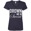 Drown Me in Sweat Tees Apparel CustomCat 88VL Anvil Ladies' V-Neck T-Shirt Navy Small