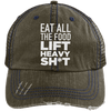 Eat All the Food, Lift Heavy Sh*t Trucker Cap Apparel CustomCat 6990 Distressed Unstructured Trucker Cap Brown/Navy One Size