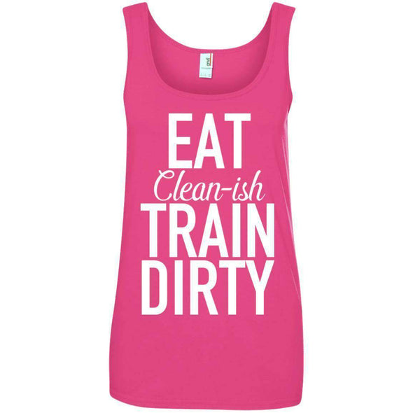 Eat Clean-ish T-Shirts CustomCat Hot Pink Small