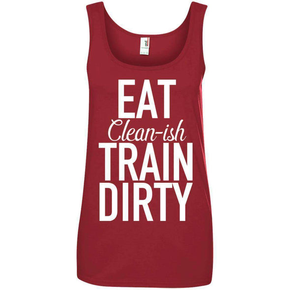 Eat Clean-ish T-Shirts CustomCat Red Small