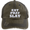 Eat Pray Slay Distressed Trucker Cap Apparel CustomCat 6990 Distressed Unstructured Trucker Cap Brown/Navy One Size