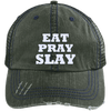 Eat Pray Slay Distressed Trucker Cap Apparel CustomCat 6990 Distressed Unstructured Trucker Cap Dark Green/Navy One Size