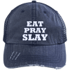 Eat Pray Slay Distressed Trucker Cap Apparel CustomCat 6990 Distressed Unstructured Trucker Cap Navy/Navy One Size