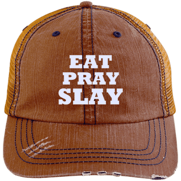 Eat Pray Slay Distressed Trucker Cap Apparel CustomCat 6990 Distressed Unstructured Trucker Cap Orange/Navy One Size