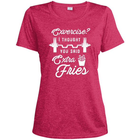 Exercise? I Thought you Said Extra Fries Dri-Fit T-Shirt T-Shirts CustomCat Pink Raspberry Heather X-Small