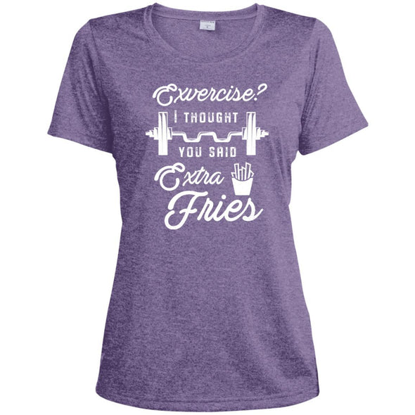 Exercise? I Thought you Said Extra Fries Dri-Fit T-Shirt T-Shirts CustomCat Purple Heather X-Small