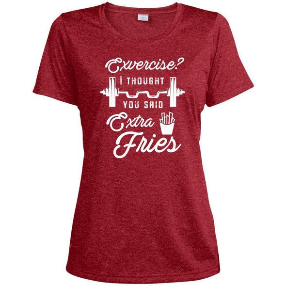 Exercise? I Thought you Said Extra Fries Dri-Fit T-Shirt T-Shirts CustomCat Scarlet Heather X-Small