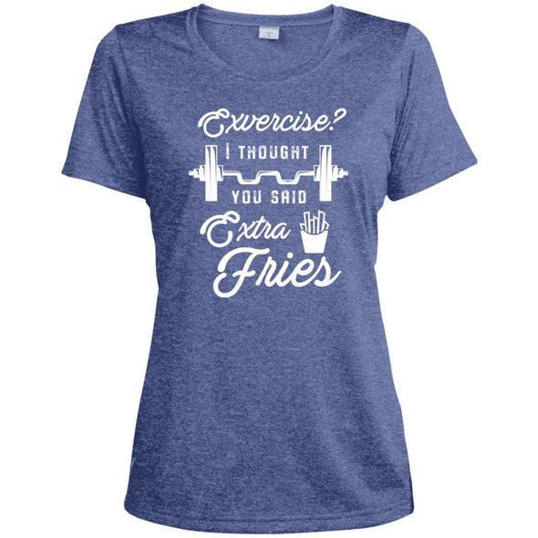 Exercise? I Thought you Said Extra Fries Dri-Fit T-Shirt T-Shirts CustomCat True Royal Heather X-Small