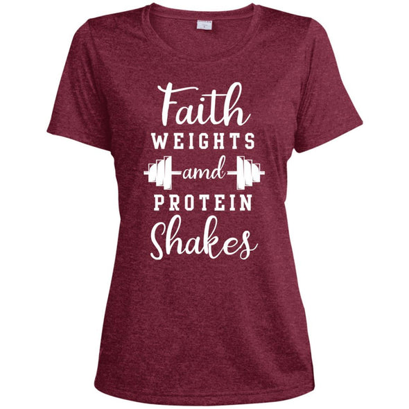 Faith Weights and Protein Shakes Dri-Fit T-Shirt T-Shirts CustomCat Cardinal Heather X-Small