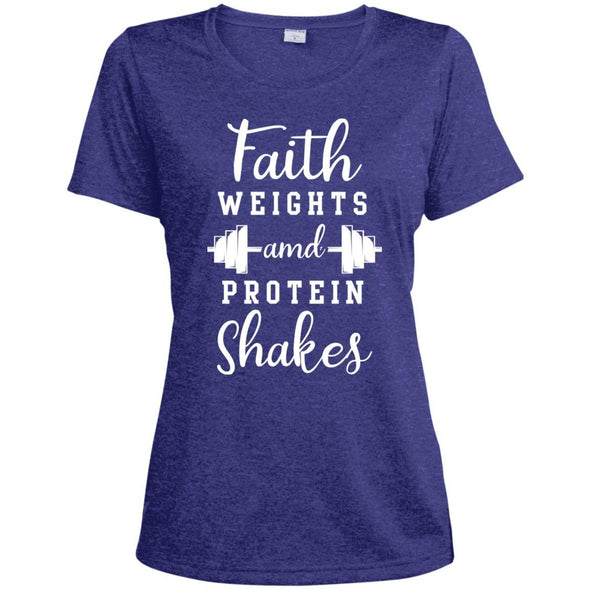 Faith Weights and Protein Shakes Dri-Fit T-Shirt T-Shirts CustomCat Cobalt Heather X-Small