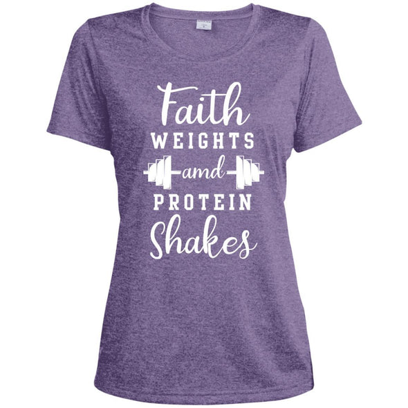 Faith Weights and Protein Shakes Dri-Fit T-Shirt T-Shirts CustomCat Purple Heather X-Small