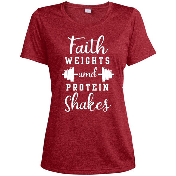 Faith Weights and Protein Shakes Dri-Fit T-Shirt T-Shirts CustomCat Scarlet Heather X-Small