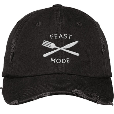 Feast Mode Cap Apparel CustomCat Distressed Dad Cap Black One Size