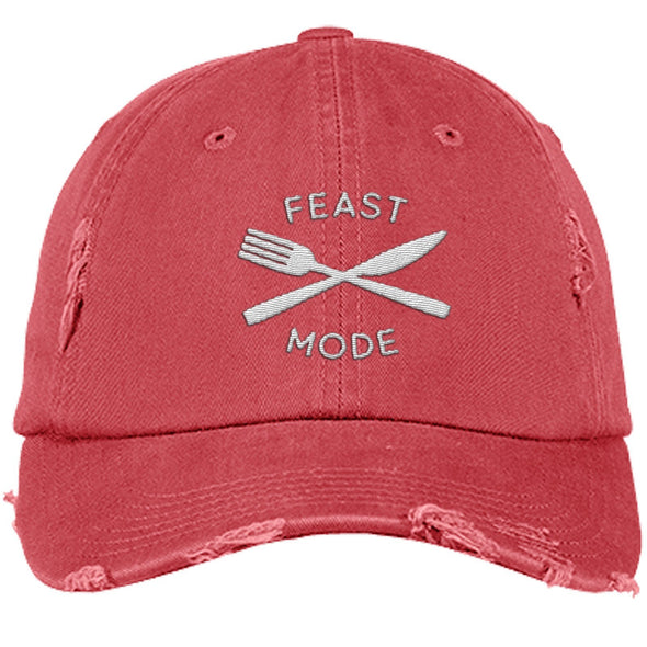 Feast Mode Cap Apparel CustomCat Distressed Dad Cap Dashing Red One Size