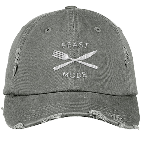 Feast Mode Cap Apparel CustomCat Distressed Dad Cap Light Olive One Size