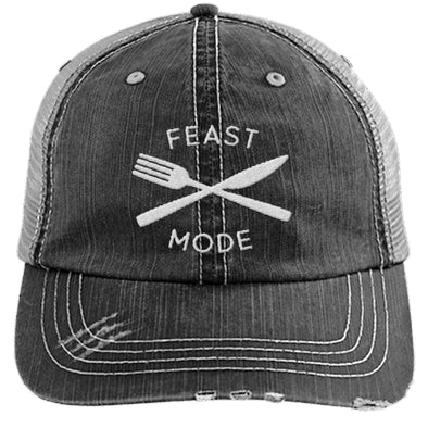 Feast Mode Cap Apparel CustomCat Trucker Cap Black/Grey One Size