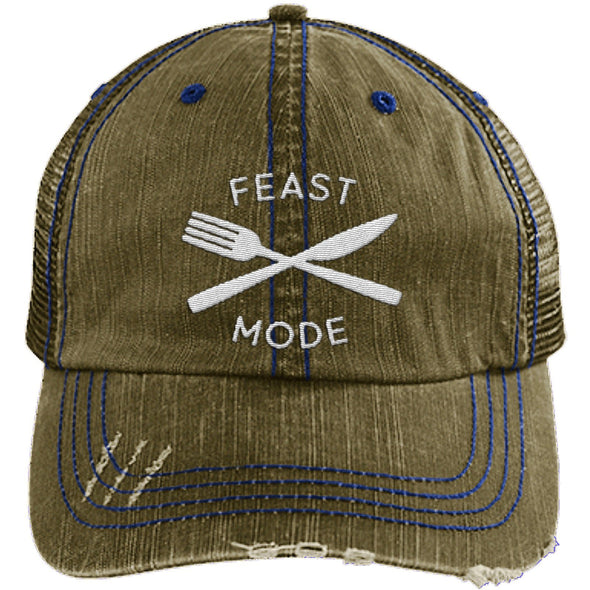 Feast Mode Cap Apparel CustomCat Trucker Cap Brown/Navy One Size