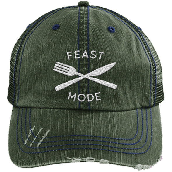 Feast Mode Cap Apparel CustomCat Trucker Cap Dark Green/Navy One Size