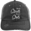 First Squats then Shots Distressed Trucker Cap Apparel CustomCat 6990 Distressed Unstructured Trucker Cap Black/Grey One Size