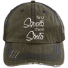 First Squats then Shots Distressed Trucker Cap Apparel CustomCat 6990 Distressed Unstructured Trucker Cap Brown/Navy One Size