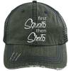 First Squats then Shots Distressed Trucker Cap Apparel CustomCat 6990 Distressed Unstructured Trucker Cap Dark Green/Navy One Size