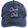 First Squats then Shots Distressed Trucker Cap Apparel CustomCat 6990 Distressed Unstructured Trucker Cap Navy/Navy One Size
