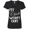 Fit Chick Won't Quit Tees Apparel CustomCat 88VL Anvil Ladies' V-Neck T-Shirt Black Small