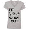 Fit Chick Won't Quit Tees Apparel CustomCat 88VL Anvil Ladies' V-Neck T-Shirt Heather Grey Small