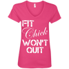 Fit Chick Won't Quit Tees Apparel CustomCat 88VL Anvil Ladies' V-Neck T-Shirt Hot Pink Small