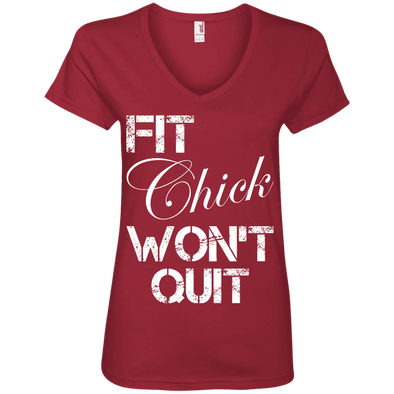 Fit Chick Won't Quit Tees Apparel CustomCat 88VL Anvil Ladies' V-Neck T-Shirt Independence Red Small