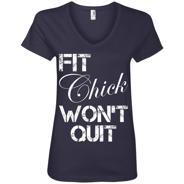 Fit Chick Won't Quit Tees Apparel CustomCat 88VL Anvil Ladies' V-Neck T-Shirt Navy Small