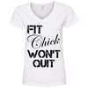 Fit Chick Won't Quit Tees Apparel CustomCat 88VL Anvil Ladies' V-Neck T-Shirt White Small