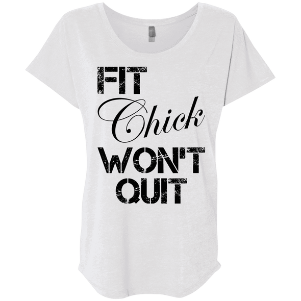 Fit Chick Won't Quit Tees Apparel CustomCat NL6760 Next Level Ladies' Triblend Dolman Sleeve Heather White X-Small