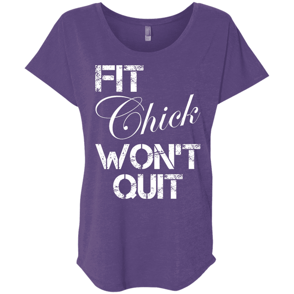 Fit Chick Won't Quit Tees Apparel CustomCat NL6760 Next Level Ladies' Triblend Dolman Sleeve Purple Rush X-Small